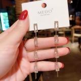 【真金电镀】S925韩国几何方形链条长款耳环女气质时尚个性设计感银针耳饰耳钉