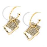 【真金电镀】S925银针韩国时尚简约设计感几何方形耳环女个性耳饰耳钉