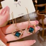 【真金电镀】S925银针韩国时尚气质镂空几何蓝色水晶耳钉女