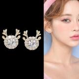 【真金电镀】S925韩国新款小鹿镶钻可爱优雅小巧耳钉耳饰品女