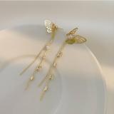 【真金电镀】S925韩国纯银针立体蝴蝶流苏耳环长款超仙气质网红耳饰