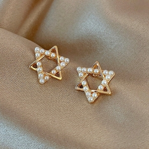 S925银针韩国珍珠ins女2021年新款简约时尚气质小巧星星耳饰耳钉