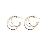 S925银针韩国C形多圆环个性潮新款网红复古气质圆圈耳环耳钉女