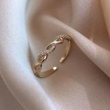 【真金电镀】韩国编织麻花开口戒指女时尚个性微镶锆石指环简约冷淡风戒圈