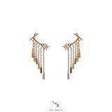 【真金电镀】S925银针韩国后挂式耳扣欧美风流苏耳环个性高级感耳骨夹