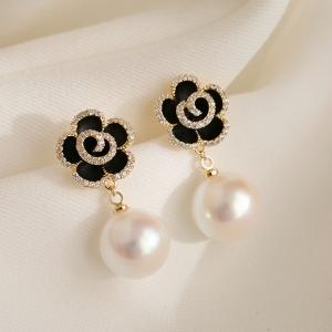 S925银针韩国黑色玫瑰花珍珠花朵气质高级大气立体花瓣耳钉女耳女
