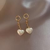【5-18左右】S925银针韩国爱心珍珠新款个性气质网红长款耳钉耳饰品