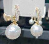 【真金电镀】S925银针韩国时尚耳饰女精致超闪耳圈珍珠港风耳环女