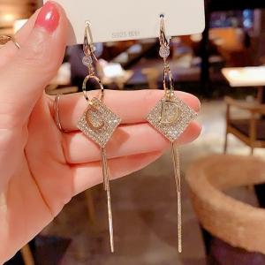 【真金电镀】S925银针韩国几何菱形字母流苏网红气质时尚爆款耳饰女