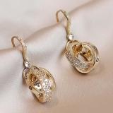 【真金电镀】S925银针韩国双圈耳环简约冷淡风优雅甜美耳饰耳钉女