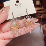 【真金电镀】S925银针韩国新款微镶锆石满天星珍珠耳环设计师款时尚耳饰耳钉女