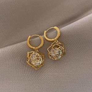 【真金电镀】S925银针韩国闪亮锆石镂空玫瑰花时尚个性耳环仙女潮耳坠女
