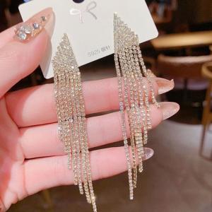 【真金电镀】S925银针韩国时尚气质名媛风水钻流苏耳环耳钉耳饰