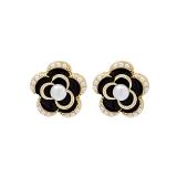 S925银针韩国精致小巧黑玫瑰气质时尚网红珍珠小众设计冷淡风耳钉耳饰