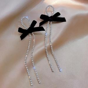 S925银针韩国蝴蝶结流苏气质新款长款满钻流苏网红耳钉耳饰女