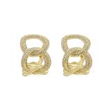 【真金电镀】S925银针韩国微镶锆石链条C型冷淡风女气质精致耳环耳坠