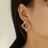 【真金电镀】S925银针韩国高级感方块微镶钻气质冷淡风网红耳钉耳饰女