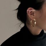 S925银针韩国气质麻花磨砂圈圈新款金色夸张欧美风网红 耳环耳坠