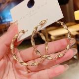 S925银针韩国高级设计感冷淡风金属圆圈时尚波浪个性网红耳圈耳环