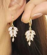 【真金电镀】S925银针韩国锆石耳环简约气质个性耳饰耳环女