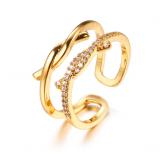 【真金电镀】韩国时尚创意双生结锆石戒指女气质可调节开口戒指