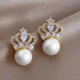 【真金电镀】S925银针韩国高级感满钻皇冠珍珠新款轻奢气质耳钉耳饰品