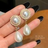 S925银针韩国时尚名媛气质珍珠ins潮精致奢华耳钉耳饰