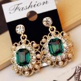 韩国复古宫廷款镶钻珍珠时尚璀璨水晶方形耳钉耳环
