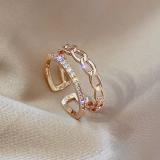 【真金电镀】韩国双层链条开口戒镶水钻关节戒小众设计开口戒指女食指指环