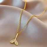 【真金电镀】韩国设计高级女锁骨镶钻精致项链感链鱼尾感轻奢