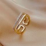 【真金电镀】韩国网红同款小方戒指女ins小众时尚个性简约气质开口戒