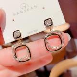 S925银针韩国新款方形菱形耳环女短发气质925银针耳钉