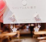 【真金电镀】S925银针韩国时尚锆石蝴蝶五星两戴潮气质百搭银针耳钉耳饰