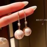【真金电镀】S925银针韩国大珍珠气质网红耳饰爆款简约夸张复古耳钩坠