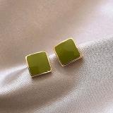 S925银针韩国绿色小方块简约气质小巧新款耳饰耳钉