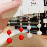 韩国新款潮珍珠流苏气质百搭长款小清新网红耳环耳饰
