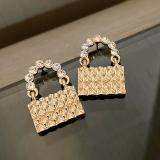 S925银针韩国创意镶钻金色包包新款复古高级时尚耳钉耳环女