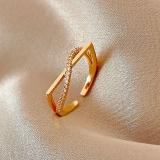 【真金电镀】韩国轻奢小众简约开口方形高级感气质精致网红戒指指环