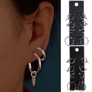 欧美速卖通爆款时尚简约合金套装防过敏圆形耳圈耳钉
