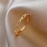 【真金电镀】韩国素圈链条时尚个性ins潮网红轻奢小众精致设计感网红食指戒指女