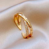 【真金电镀】韩国新款时尚个性夸张潮人简约线条镶钻开口可调节戒指女