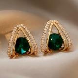【10-22出货】S925银针韩国绿水晶女小众设计感新款时尚气质耳坠耳钉
