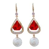 【真金电镀】S925银针韩国网红个性三角水晶气质珍珠时尚耳饰耳环女
