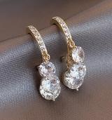 【真金电镀】S925银针韩国轻奢钻石切面耳坠时尚高级感小众设计网红精致耳饰女