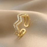 【真金电镀】韩国镶钻折线小众设计个性食指指环简约轻奢气质网红开口戒