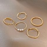 韩国五件套轻奢珍珠小众设计简约ins潮网红素圈食指尾戒戒指女