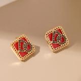 【真金电镀】韩国红色方块镶锆石设计感DO字母耳钉耳饰女