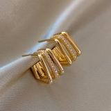 【真金电镀】S925银针韩国冷水风几何镶钻时尚高级气质耳环女