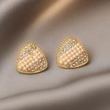 【真金电镀】S925银针韩国镶钻珍珠几何三角形网红时尚气质耳钉耳饰女