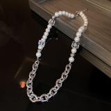 韩国方块水晶珍珠链条手链小众设计颈链嘻哈小香风锁骨链项饰